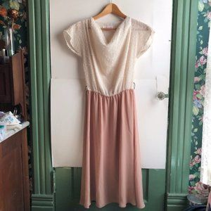 VINTAGE Cream Ivory Nude Fuzzy Fit Flare Dress